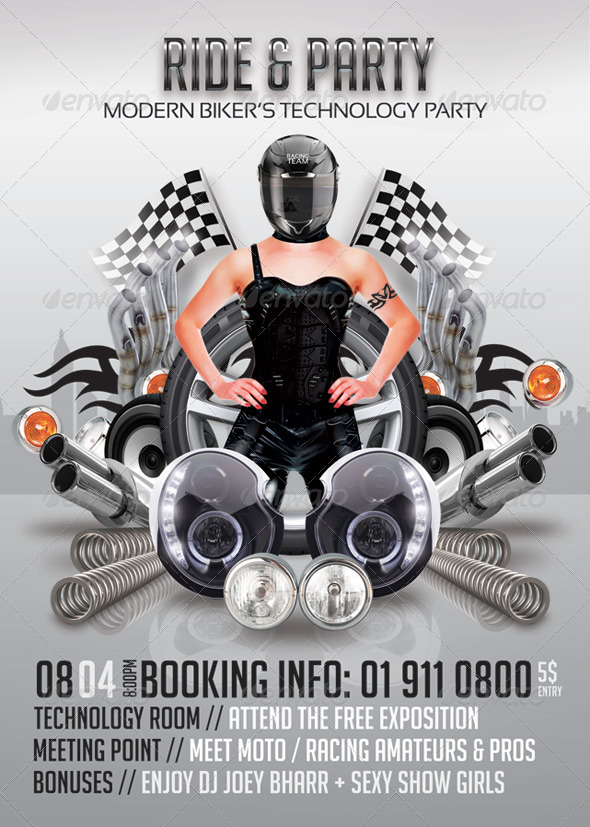 Modern Bikers Ride And Party - Events Flyers