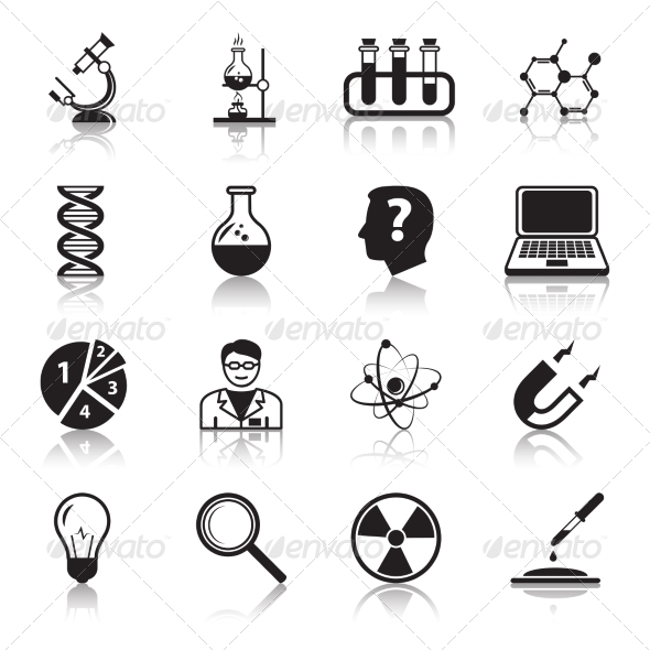 Chemistry or Biology Science Icons Set - Health/Medicine Conceptual