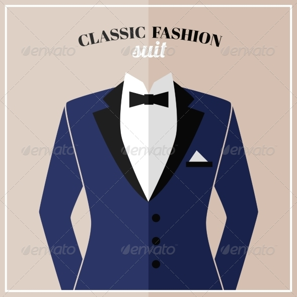 Classic Tuxedo Suit with Bow - Backgrounds Decorative
