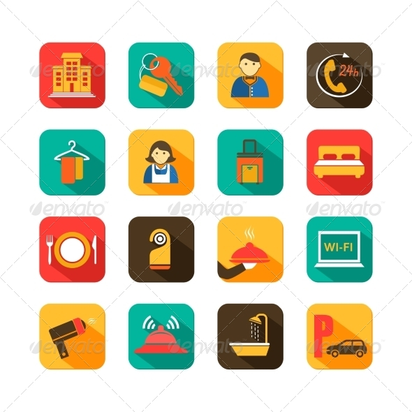 Hotel Travel Flat Icons Set - Web Elements Vectors