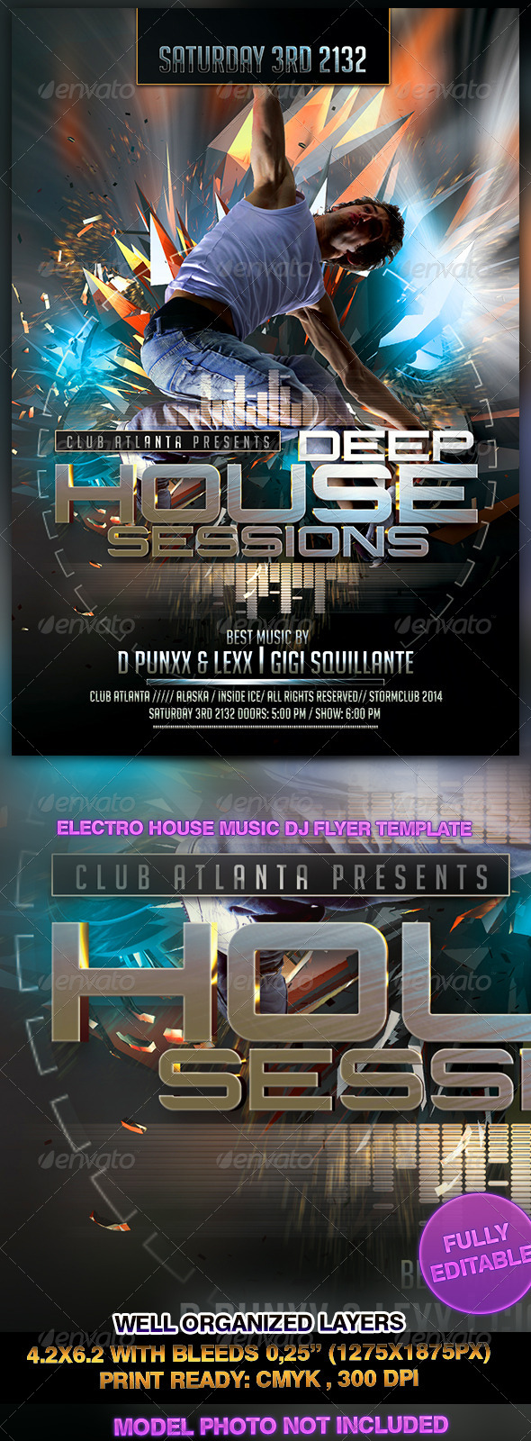 Electro House Music DJ Flyer Template - Events Flyers
