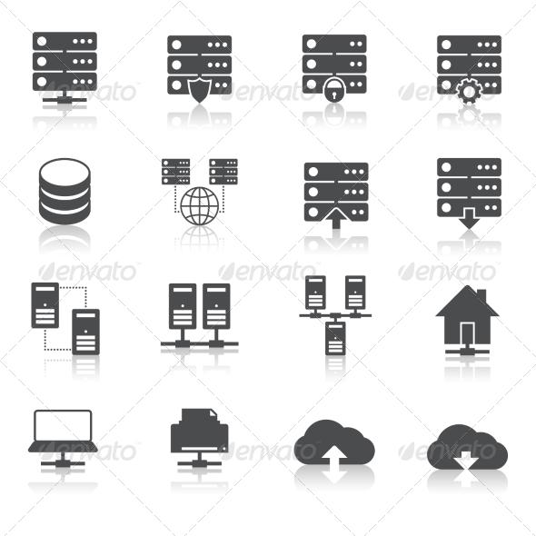 Hosting Technology Pictograms Set - Web Elements Vectors