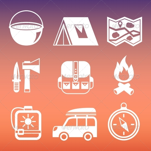Outdoors Camping Pictograms Collection - Web Elements Vectors