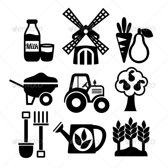 Farming Harvesting and Agriculture Icons Set - Web Elements Vectors