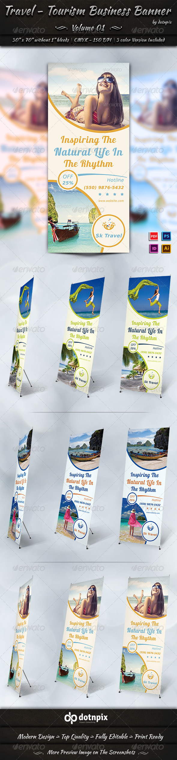 Travel / Tourism Business Banner | Volume 1 - Signage Print Templates