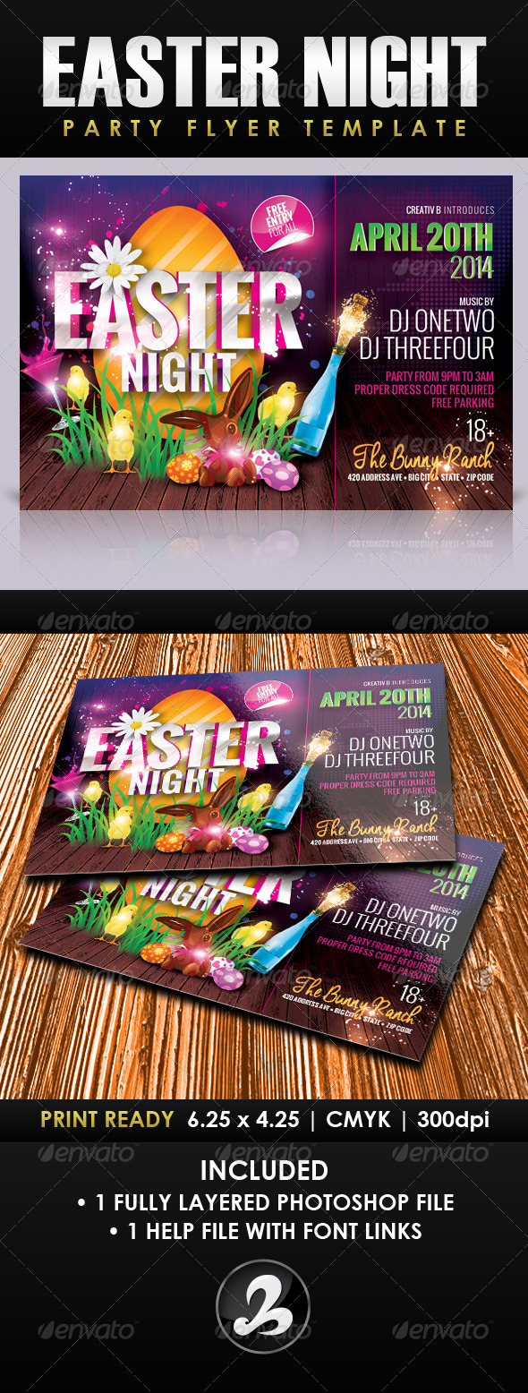 Easter Night Party Flyer Template - Holidays Events