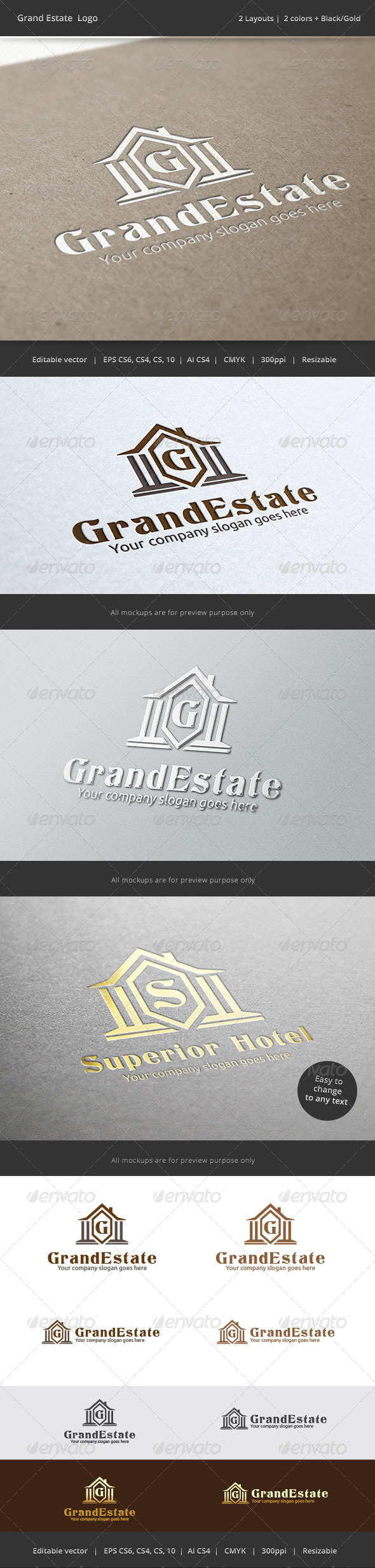 Grand Estate Letter Logo - Buildings Logo Templates