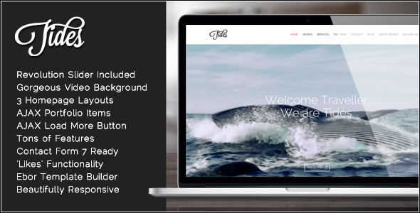 Tides – Fullscreen Video One-Page WordPress Theme