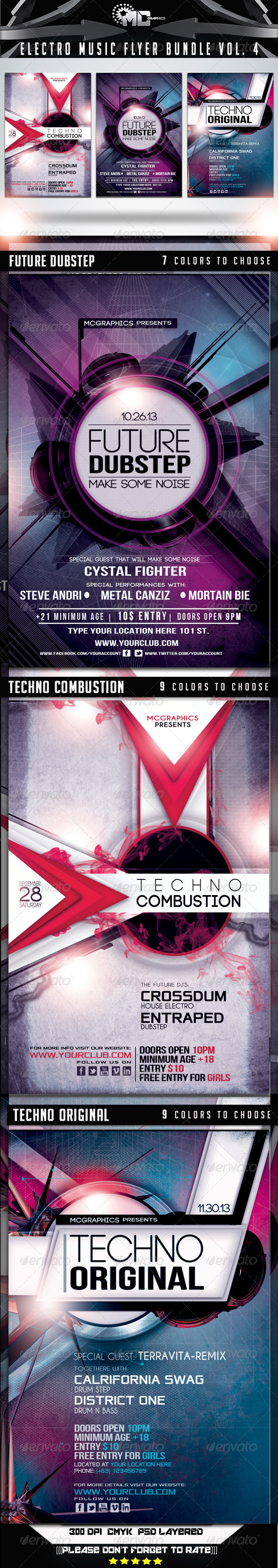 Electro Music Flyer Bundle Vol. 5 - Flyers Print Templates
