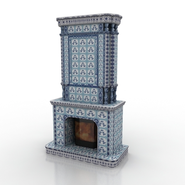 Fireplace Gzhel - 3DOcean Item for Sale