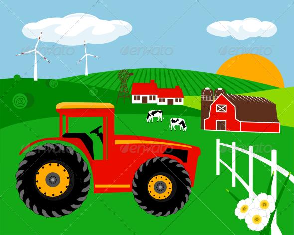 Farm Illustration - Landscapes Nature