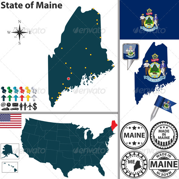 Map of State Maine, USA - Travel Conceptual