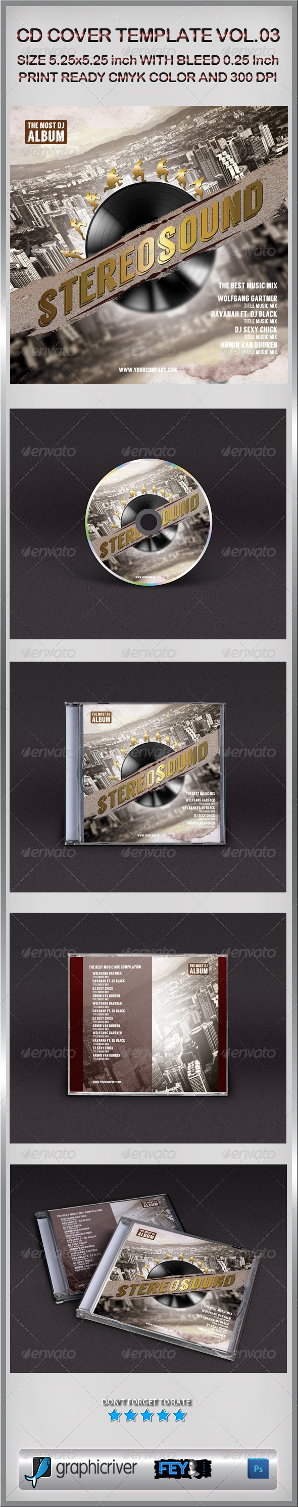 CD Cover Template Vol.03 - CD & DVD Artwork Print Templates