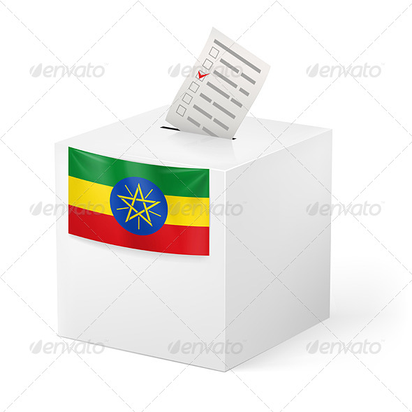 Ballot Box with Voting Paper Ethiopia - Miscellaneous Vectors