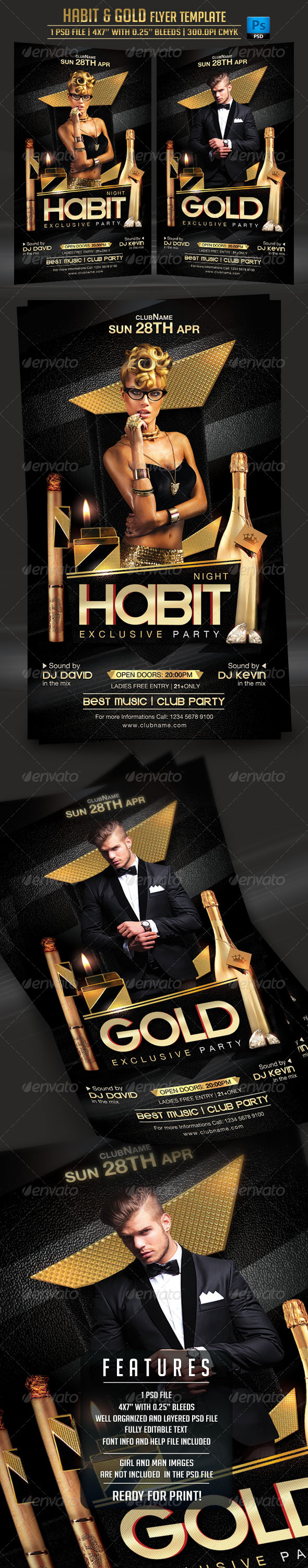Habit and Gold Flyer Template - Clubs & Parties Events