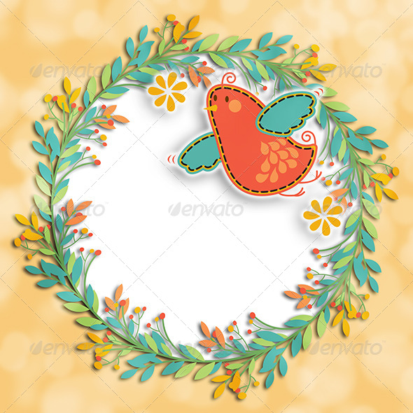 Wreath Bird Background Layout - Backgrounds Graphics