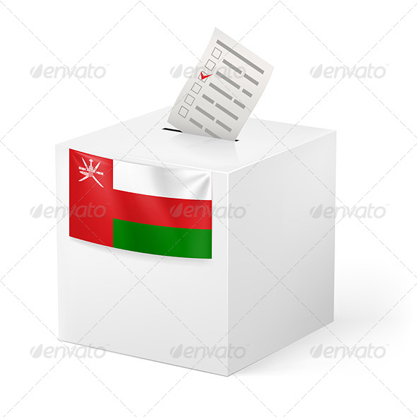 Ballot Box with Voting Paper Oman - Miscellaneous Vectors