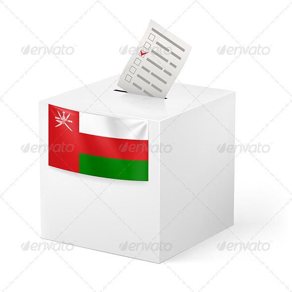 Ballot Box with Voting Paper Oman - Miscellaneous Vectors