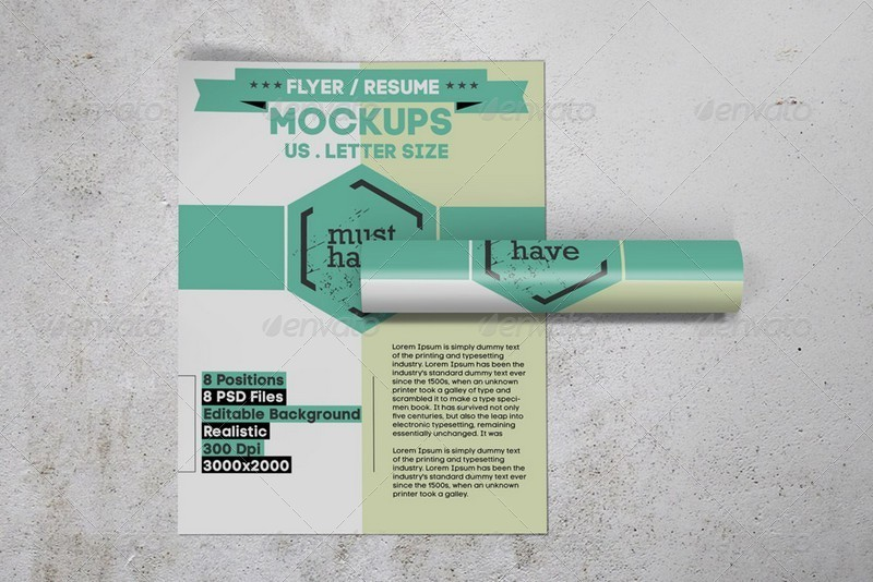us letter flyer    resume mockups by kongkow