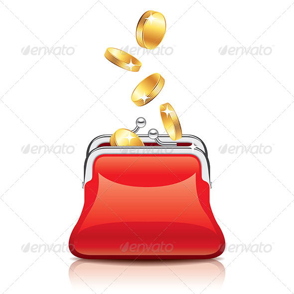 Red Purse and Coins - Concepts Business