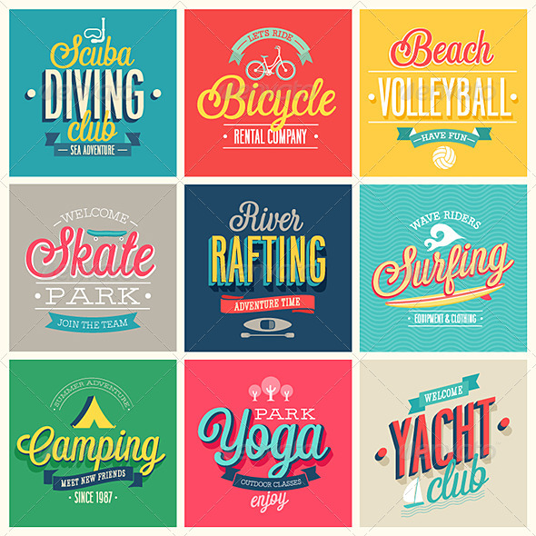 Summer Sports Set of Labels and Emblems - Sports/Activity Conceptual