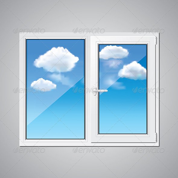 Plastic Window and Blue Sky - Man-made Objects Objects