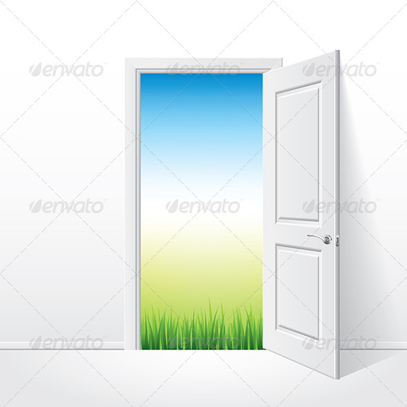 Opened White Door and Nature - Miscellaneous Vectors