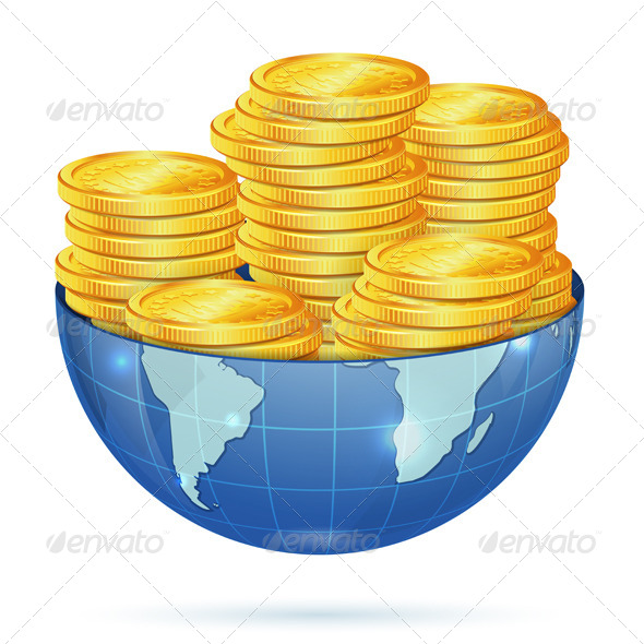 Earth with Gold Coins - Concepts Business