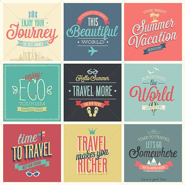 Travel Set of Labels and Emblems - Travel Conceptual