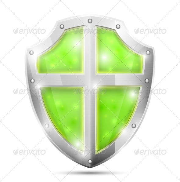 Glossy Magic Green Shield Icon - Man-made Objects Objects