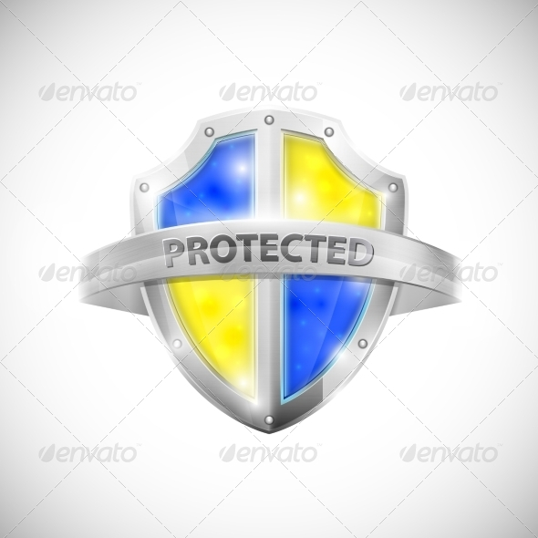 Protection Icon with Glossy Shield - Man-made Objects Objects