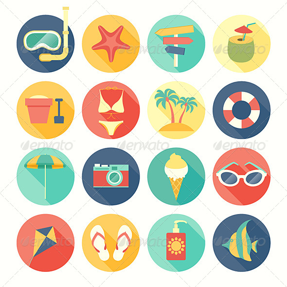 Beach Icons Set - Travel Conceptual