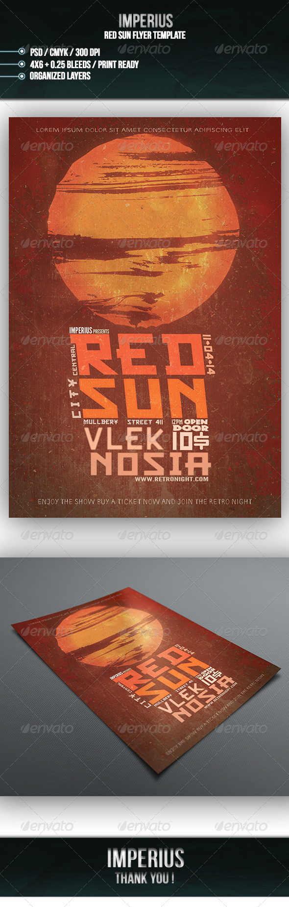 Red Sun Flyer - Flyers Print Templates