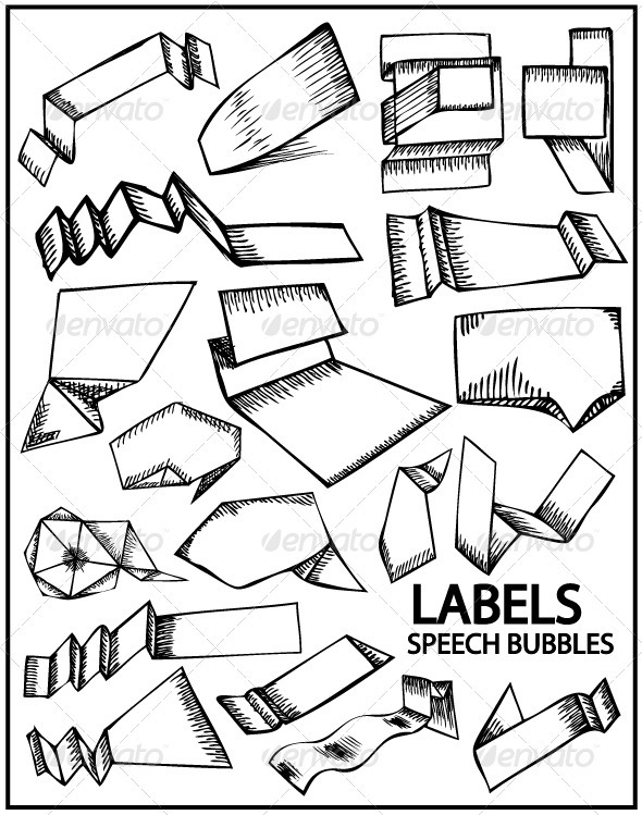 Hand drawn labels and speech bubbles - Decorative Symbols Decorative
