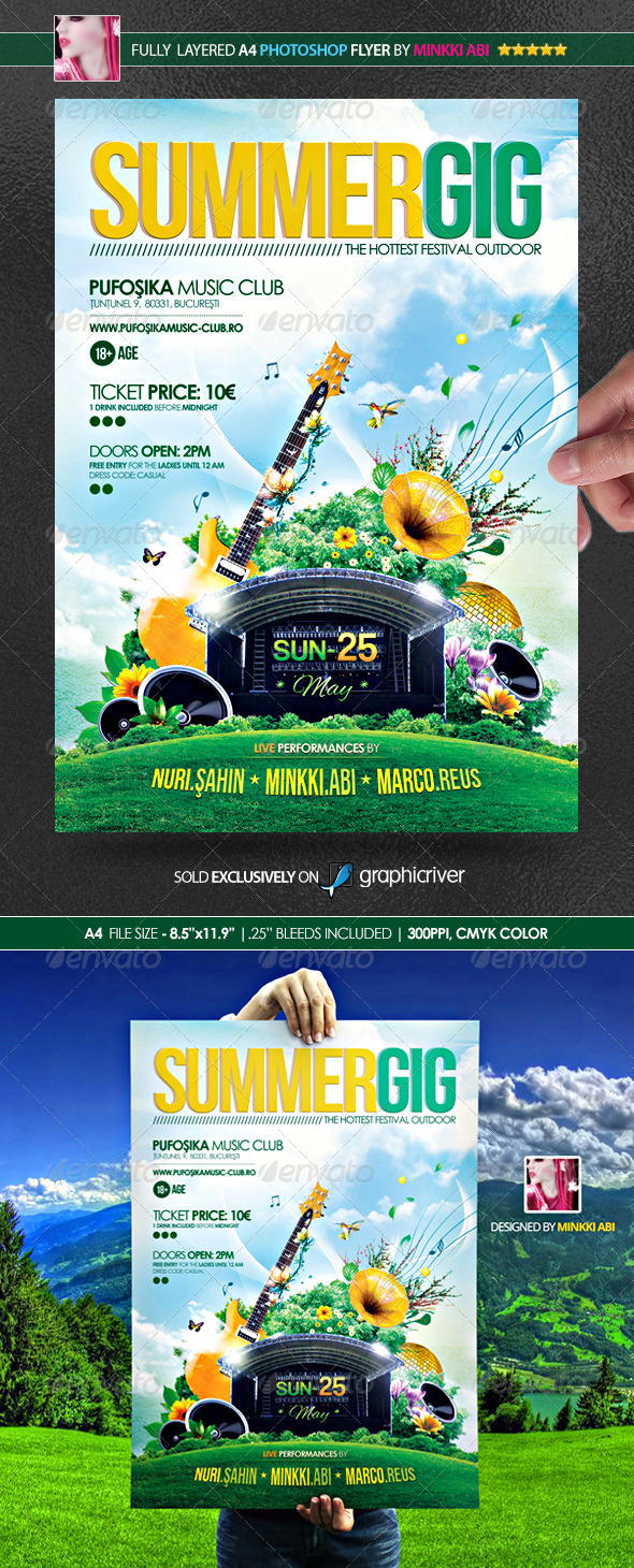 Summer Gig Poster/Flyer - Flyers Print Templates