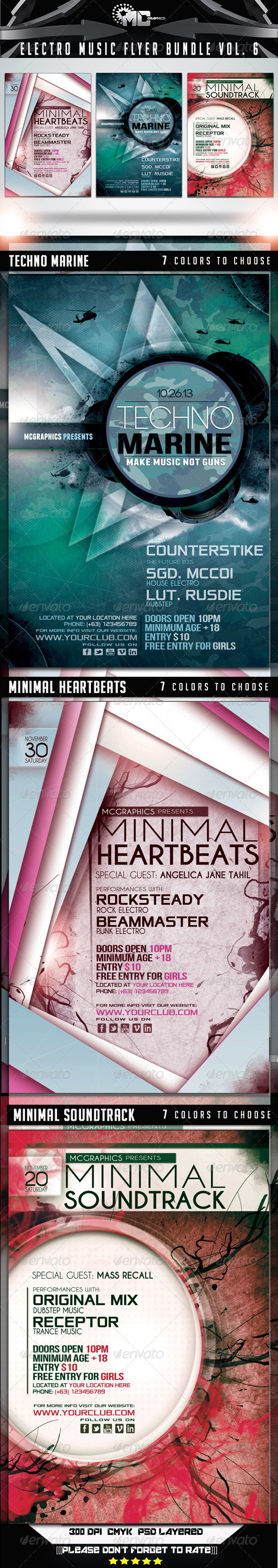 Electro Music Flyer Bundle Vol. 6 - Flyers Print Templates