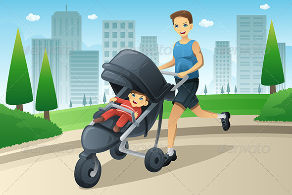 Father Jogging While Pushing a Stroller - Sports/Activity Conceptual
