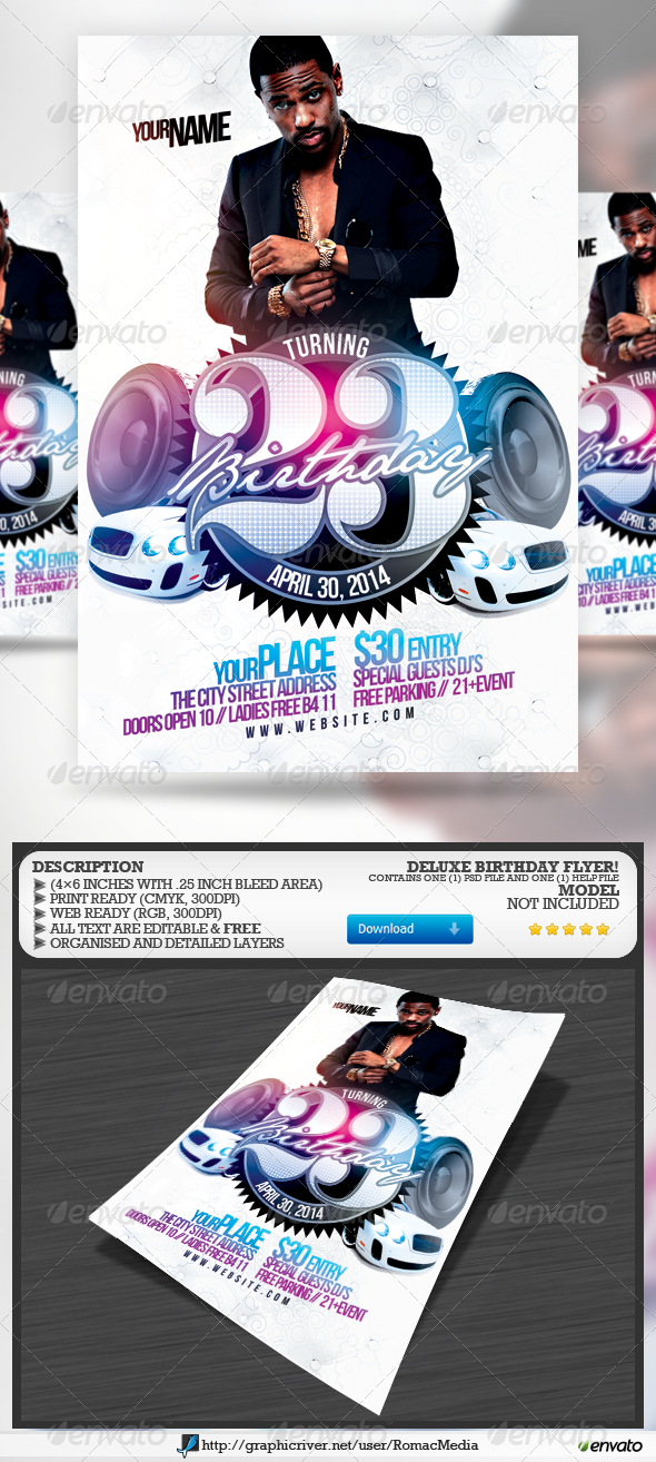 Deluxe Birthday Flyer - Clubs & Parties Events