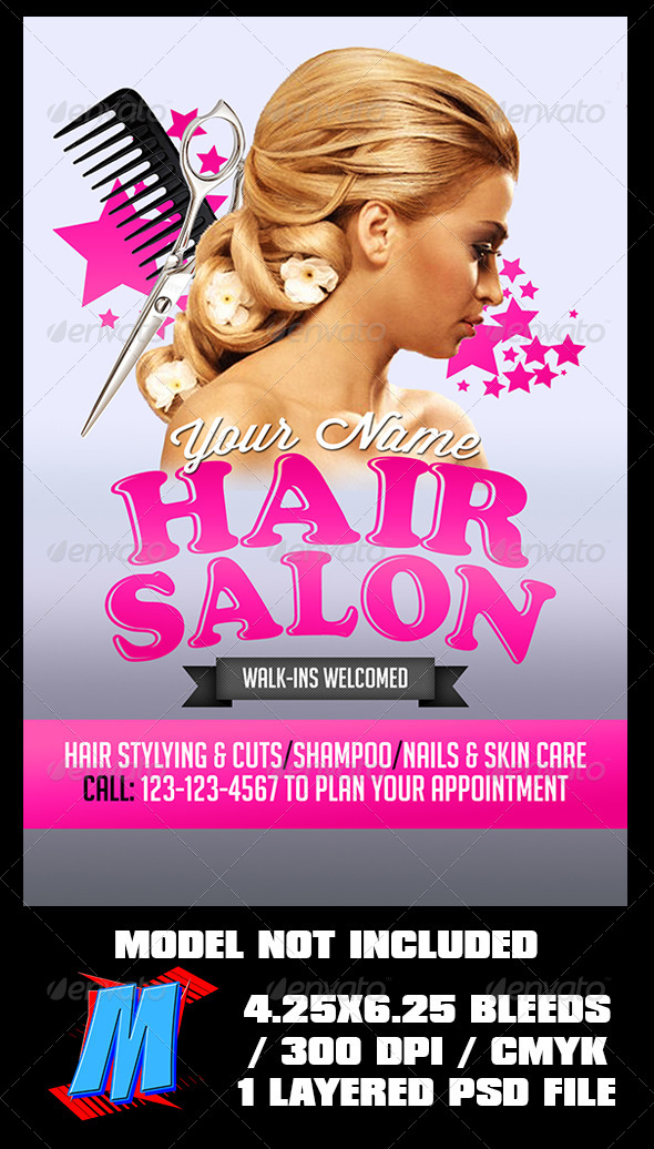 Hair Salon Flyer Template By MegaKidGFX GraphicRiver - Hair salon brochure templates