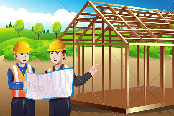 Construction Worker Discussing Blueprint - Business Conceptual