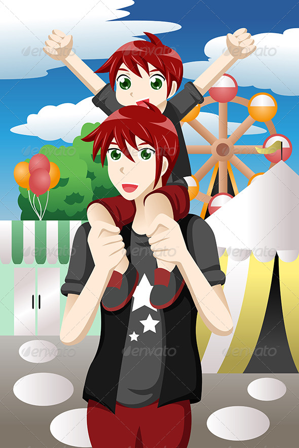 Father and Son at Amusement Park - Sports/Activity Conceptual