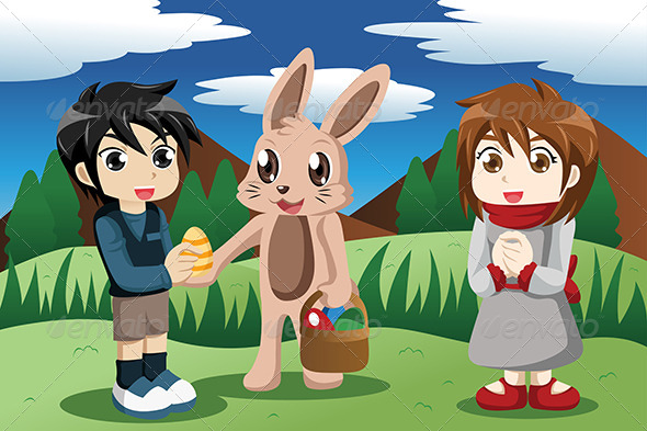 Kids with Easter Bunny - Seasons/Holidays Conceptual