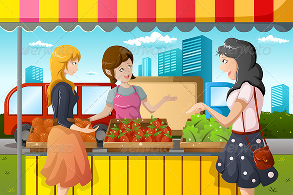 People Shopping in Farmers Market - People Characters