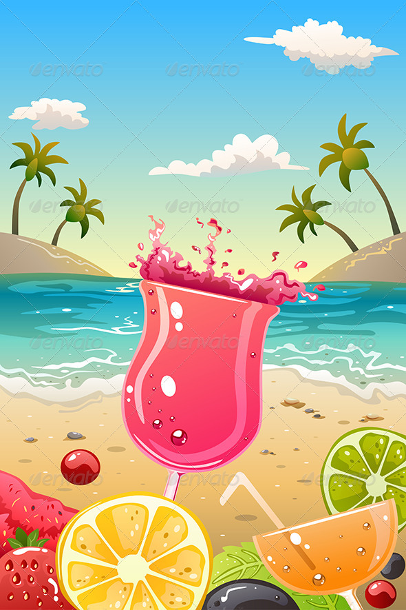 Summer Poster with Fresh Fruit and Drinks - Backgrounds Decorative
