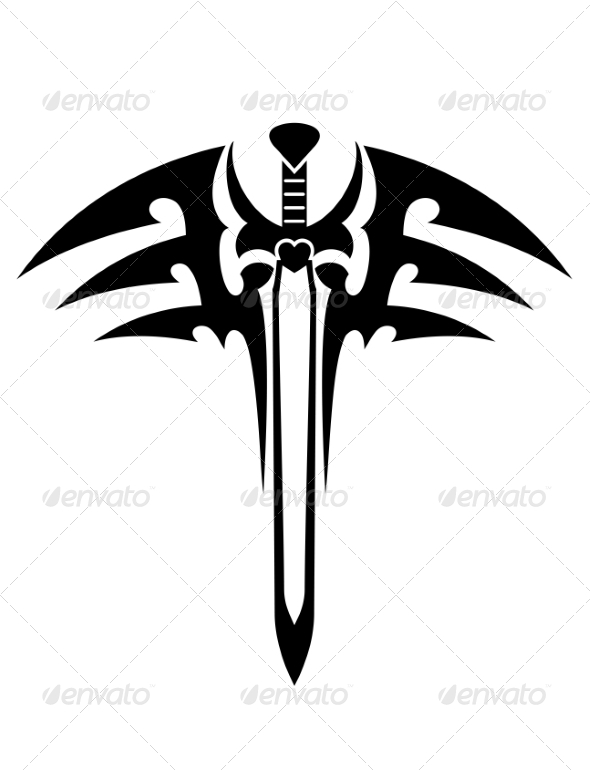Tribal Tattoo with Sword - Tattoos Vectors