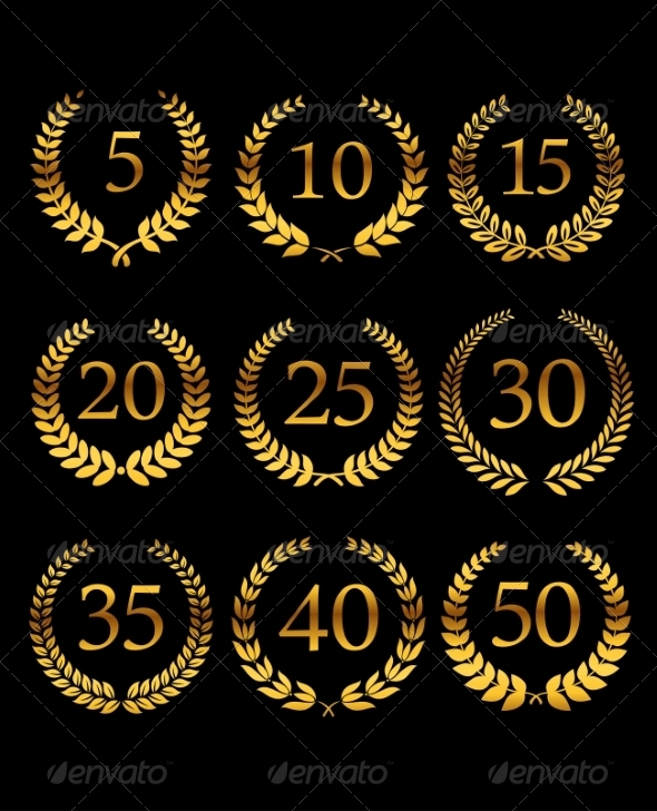 Anniversary Golden Laurel Wreathes - Decorative Symbols Decorative