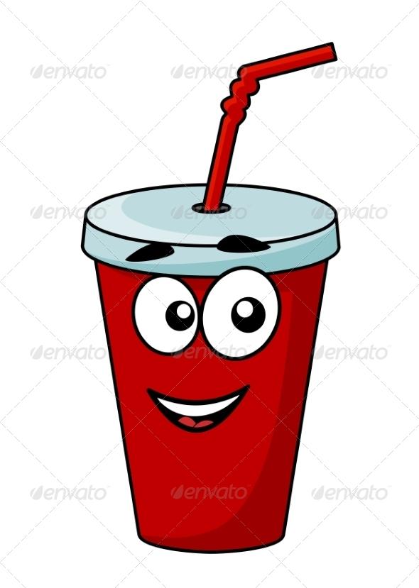 Cartoon Takeaway Soda Drink - Food Objects