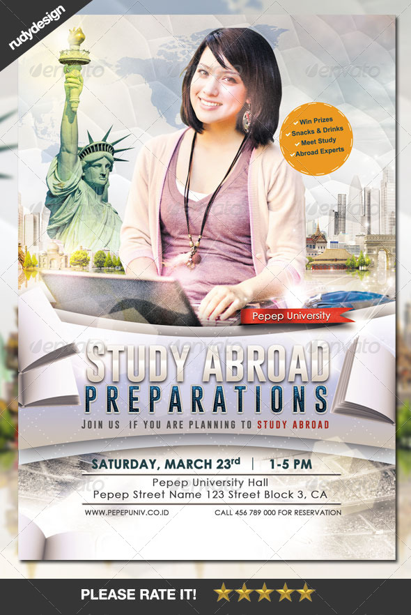 study abroad school college flyer template by rudydesign