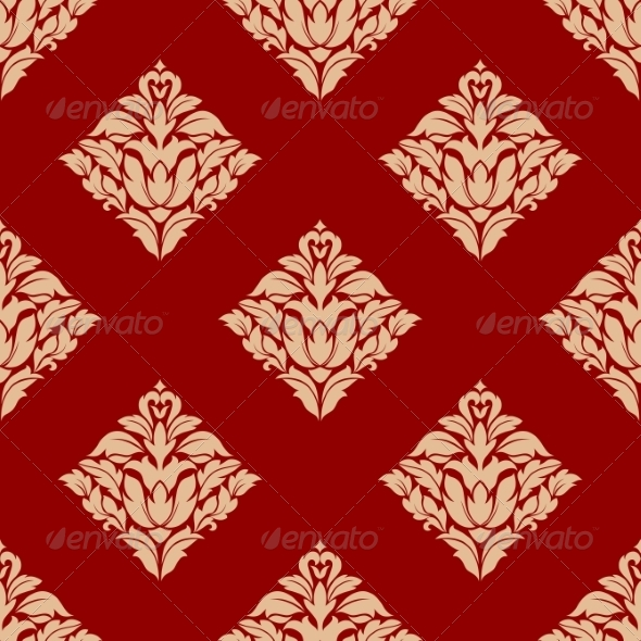 Red and Beige Arabesque Pattern - Patterns Decorative