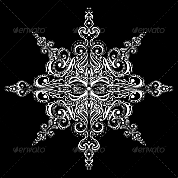 Ornamental White Snowflake - Patterns Decorative